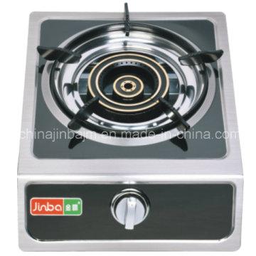 Poêle à gaz à panneau recouvert noir à brûleur unique