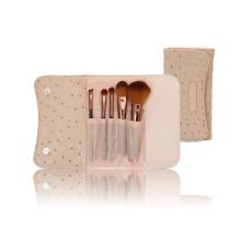Beige Ostrich Pattern Nylon Hair Makeup Cosmetic Brush Set