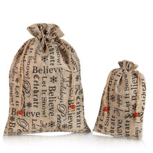 Custom word printing linen drawstring bag