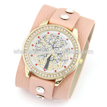 2015 Teenage Fashion Wide Strap With Lucky Tree Leisure montre en cuir véritable pour femmes