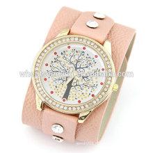2015 Подростковая мода широкий ремешок с Lucky Tree Досуг подлинный кожаный часы для женщин