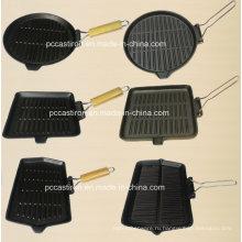 Предварительно смонтированная решетка для сковородки из чугуна с деревянной ручкой