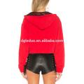 Mulheres vermelhas hoodies t-shirt moda zipada camiseta de manga longa
