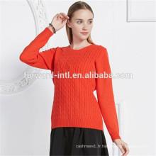 chandail de tricot de câble de femmes épaisses de cachemire pur pour des dames