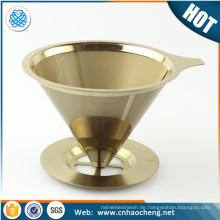 Titanium Coated Edelstahl Pour Over Kegel Dripper Wiederverwendbare Kaffee Filter für Osaka Chemex Hario Karaffen