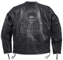 Mens Destination Winged Skull with Side Lacing Black Leather Jacket