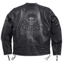 Mens Destination Winged Skull with Side Lacing Black Leather Jacket