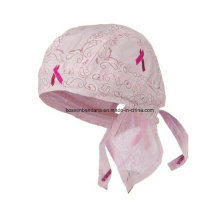OEM Produce Customized Logo Printed Pink Cotton Promotional Girl′s Pink Bandana Head Wrap Caps