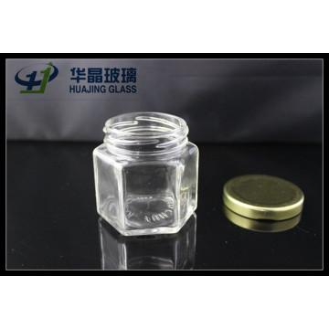 Huajing alta qualidade pequeno 138ml sextavado vidro Mason Jar