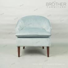 Chaise de sofa simple de loisirs de tissu de cadre en bois bas avec le coussin