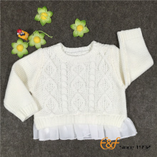 Fashion Cable Knitted Girls Sweaters with Chiffon He