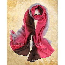 Classic two-tone color hand painted silk scarf