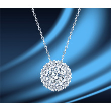 S925 Sterling Silver Round 1 Carat Moissanite Diamond Women′ S Necklace Clavicle Chain Glittering Bling Bling Luxury Thin Chain Fashion Jewellery Necklace