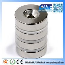 N42 D22.225X6.35X 8 Hole Ring NdFeB Countersunk Hole Magnet
