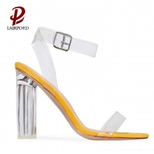 sliver Paint heel clear PVC sequins sandals