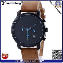 Yxl-262 Promotional New Style Mvmt Men′s Watch Leather Calendar Date Men Wrist Watch Custom Design Fashion Watch
