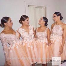 Vente en gros de bonne qualité Elegant New O Neck rose dentelle courte ligne de robes de demoiselle d'honneur LBS15