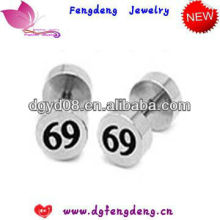 (WS3317)2013 good quality Stainless steel number earrings
