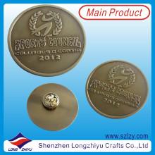 Pin redondo de solapa con monedas de bronce antiguo (LZY-10000215)