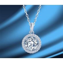 Korean Fashion Jewellery Women′ S S925 Sterling Silver Moissanite Round Zircon Full Rhinestone Clavicle Chain Necklace