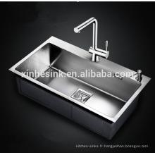 Évier de cuisine SUS 304 en acier inoxydable à rayon rond, 16G / 18G, fait main