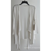 100% algodão de manga comprida Ladies Opean Patterned Knitwear Cardigan
