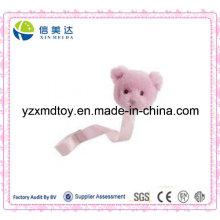 Pink Plush Teddy chupeta clip para bebês