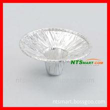 round aluminium foil candle holder