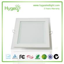 Square 6W12W18W PF 0.95 CRI80 Verre LED Panneau de lumière