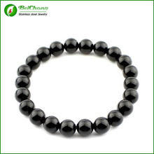 Anil Arjandas 316l Stainless Steel 8mm Black Bead Men Bracelet Bangles Jewelry