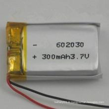 Haute qualité Li-Polymer 300mAh 3.7V Lipo Battery 3.7V 602030
