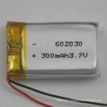 High Quality Li-Polymer 300mAh 3.7V Lipo Battery 3.7V 602030