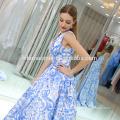 Nova moda azul flor v profundo pescoço vestido de baile vestido de noite