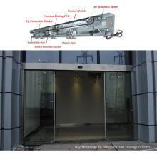 Porte coulissante automatique en verre trempé en acier inoxydable