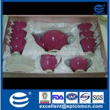 luxury gold line 17pcs fine bone china tea set in stock