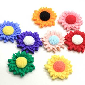 Kawaii Colorful Sunflower 34mm Resin Flatback Cabochon Scrapbooking For Phone Craft