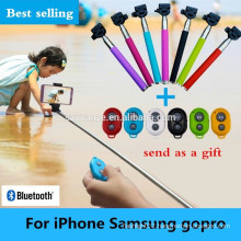 2015 hot new selfie stick with bluetooth shutter button, selfie stick monopod, camera selfie stick,
