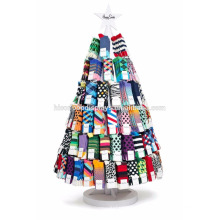 Shopping Mall Commercial Fixture Floor Wooden Round Shape Happy Socks Display Stands Merchandise