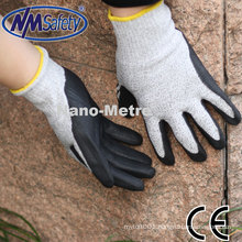 NMSAFETY anti-cut gloves coated nitrile on palm full protectioin for hand job