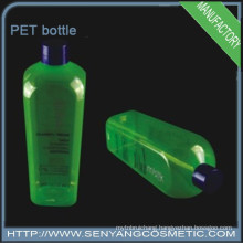 Green PET plastic cosmetic bottles container shampoo bottle with cap