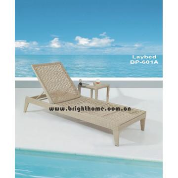 Tejido de flores Sun Lounge Rattan silla de playa de mimbre