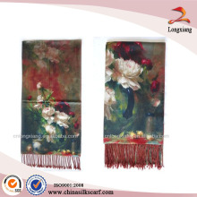 Reversible Silk Floral Wedding Digital Printed Shawl Of Pashmina Shawl Suppliers