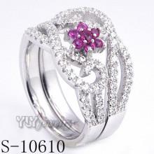 925 plata esterlina flor rosa zirconia mujeres anillo (s-10610)