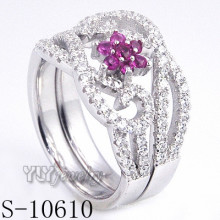 925 Sterling Silver Flower Pink Zirconia Women Ring (S-10610)