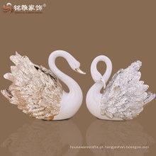 Home Decorativo Delicado Crafts Ornamento de cisne Liquid Gold Polyresin Swan Statue Swan Figurine Wedding Romantic Gift