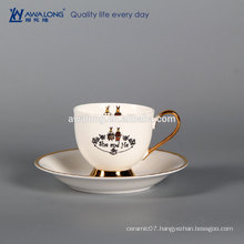 Bone China couple cup ,custom printed cup and saucer