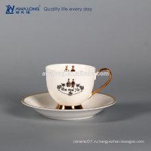 Чистая белая золотая линия он и она пара чашка кофе и блюдце