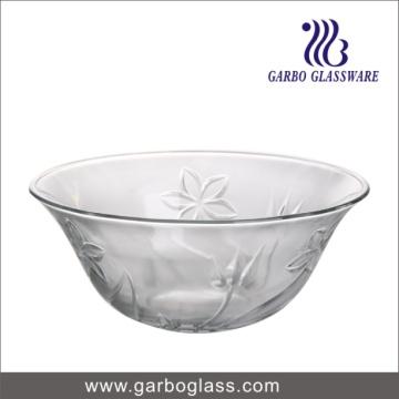 Grand bol de soupe de verre rond et transparent