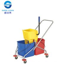 Side-Press Double Mop Wringer Trolley (B-043)