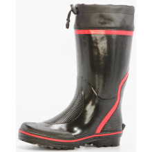 bright black&red men's sweat-absorbent lining rubber boots